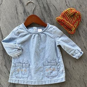 Baby Girl Chambray Cat Top w Fall Knit Beanie Hat